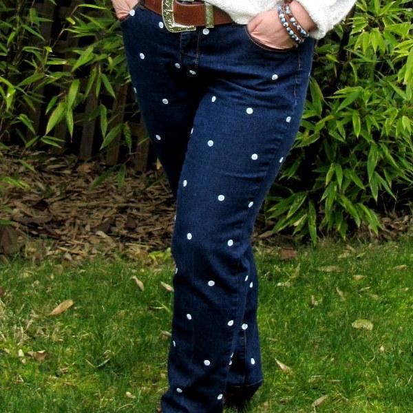 DIY, Tutorial, Polka Dot Jeans