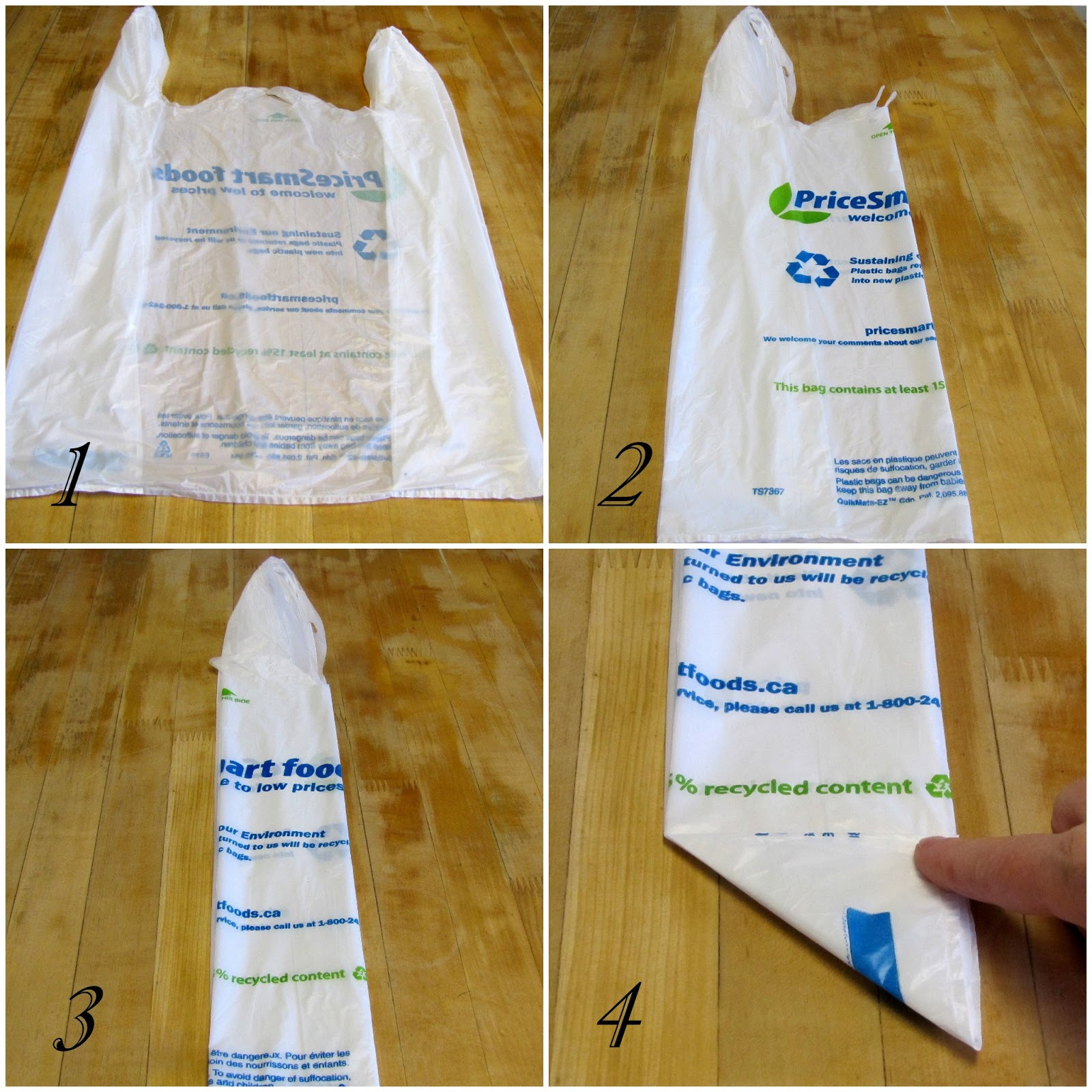 DIY, tutorial, folded plastic bag