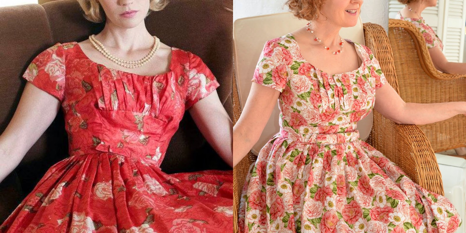 Mad Men Challenge 3, Simplicity 2444, Betty Draper Roses Dress